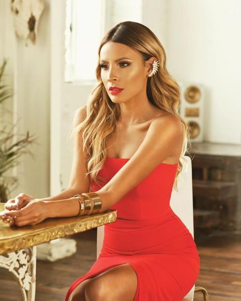 dress, desi perkins, red dress, slit dress, bracelets ...