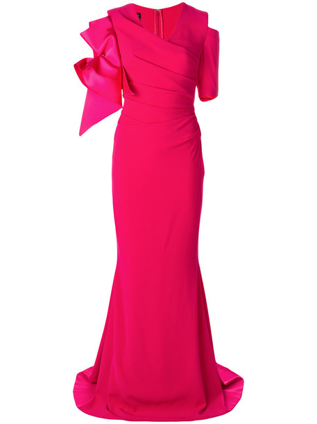 Talbot Runhof dress women spandex purple pink