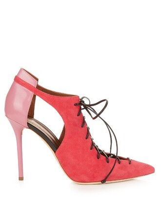 pumps leather suede pink shoes
