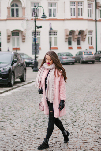 kolorowa dusza blogger dress belt bag tights shoes pink coat winter outfits ankle boots pink bag