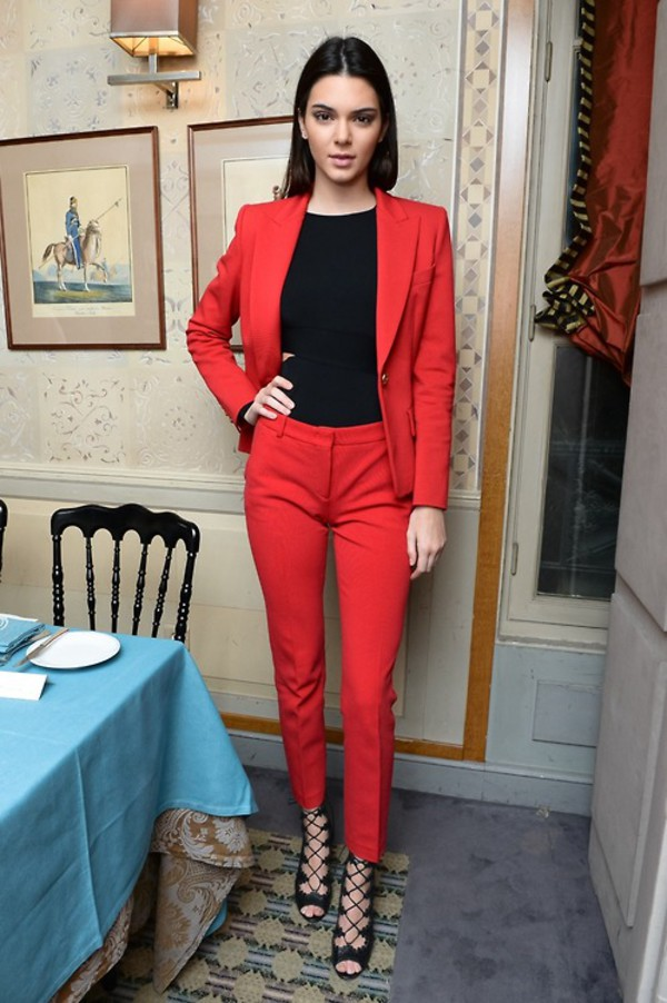 suit pants blazer jacket kendall jenner fashion week 2014 top shoes