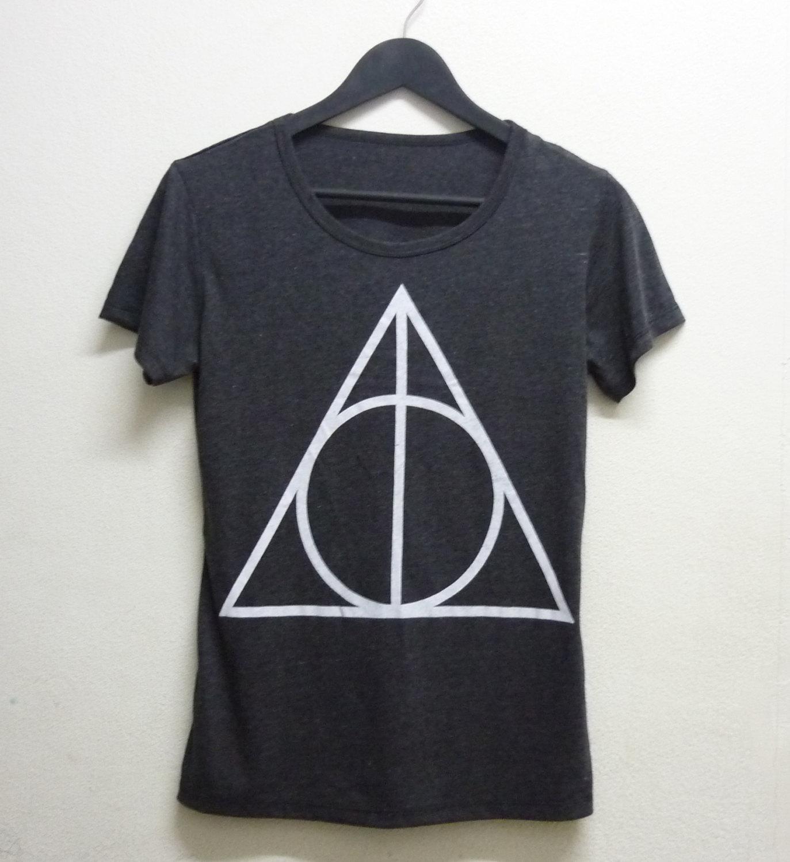 Deathly hallows shirt harry potter clothing teen short sleeve tshirt size s m l xl dark grey triangle deathly hallows shirt harry potter