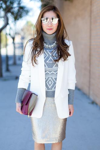skirt sequins sequin skirt pencil skirt silver sweater grey sweater black blazer white blazer bag sunglasses dior dior sunglasses mirrored sunglasses