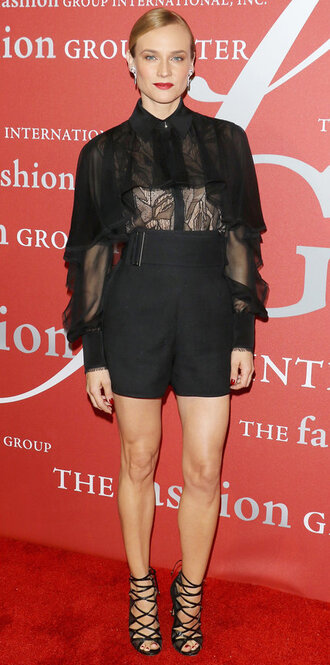 shorts blouse diane kruger sandals see through all black everything lace shoes