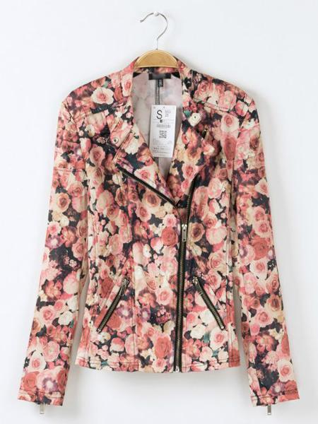 Pink rose prints vintage jacket with inclined zipper design