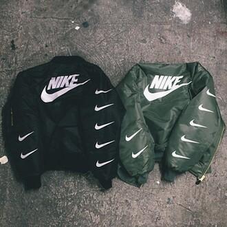 jacket veste nike bomber jacket nike jacket black green hype