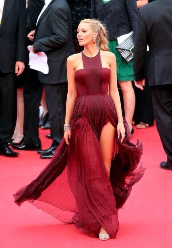 dress blake lively red dress red dark red long dress beautiful hot