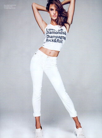 jeans top editorial white jeans alessandra ambrosio