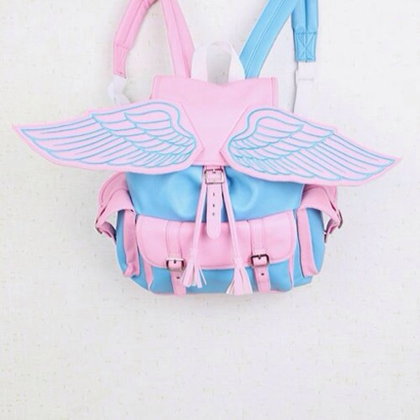 bag backpack pink and blue color wings ailes backpack accessories Accessory pink bookbag school bag pegasus blue white wings backpack backpack grunge backpack pale