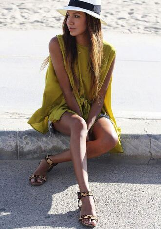 shirt clothes t-shirt yellow top yellow dress green green dress hipster