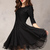 Black Half Sleeve Lace Bead Chiffon Dress - Sheinside.com