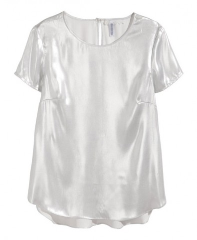 Laser Silver Slim Fit Short Sleeves Chiffon Blouse