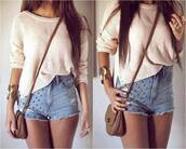 beige,beige sweater,denim shorts,shoulder bag,mini bag,summer outfits