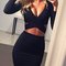 Women's long sleeve elastic cotton party sexy midi club bandage bodycon dress