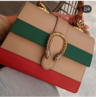 bag nude green red