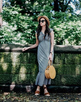 dress tumblr gingham gingham dresses maxi dress long dress bag tote bag sandals flat sandals hat