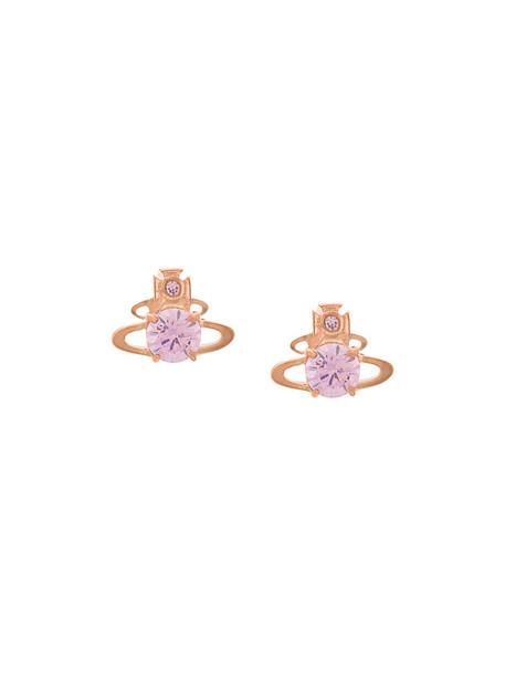 Vivienne Westwood rose gold rose women earrings gold grey metallic jewels