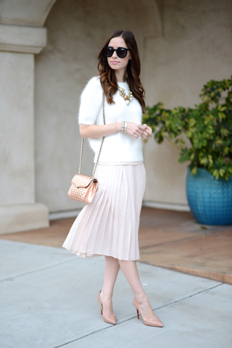 jewels baby pink blogger preppy fuzzy sweater bag sunglasses jumper classy fluffy necklace m loves m pleated skirt stilettos