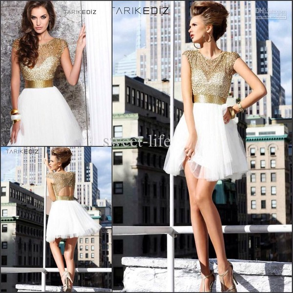 dress gold beads top white