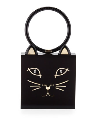 Charlotte Olympia Kitty Square Acrylic Box Clutch, Black - Neiman Marcus