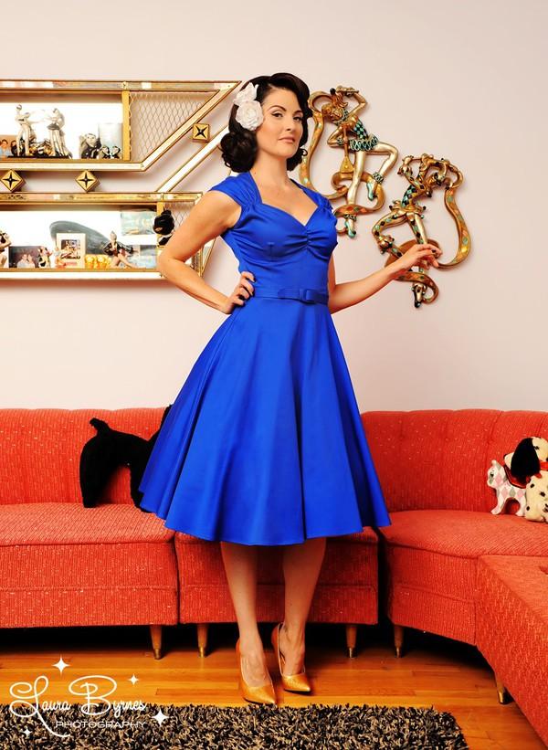 Blue 50s style dress