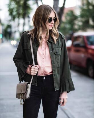 jacket tumblr army green jacket shirt pink shirt bag grey bag sunglasses