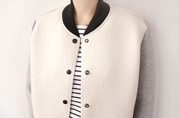 varsity jacket coat college baseball black and white button down button up offwhite