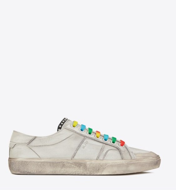 shoes ysl colorful white sneakers wheretoget