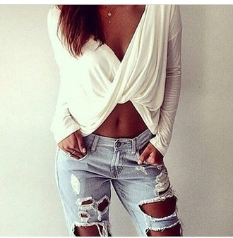 blouse croptopwithsleaves crop tops draped top grey top red lime sunday top cross over dress jeans