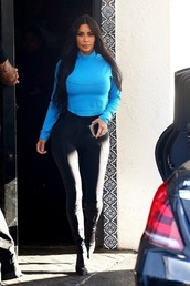 shoes,blue,top,leggings,kim kardashian,kardashians,boots,fall outfits,celebrity,streetstyle