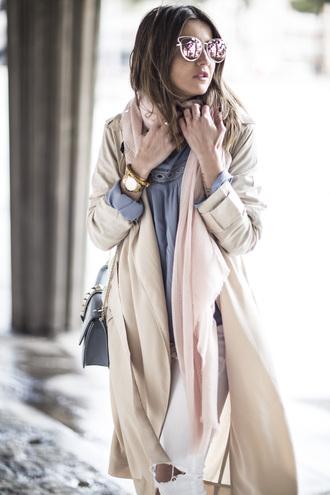 lovely pepa blogger top jeans shoes coat bag sunglasses