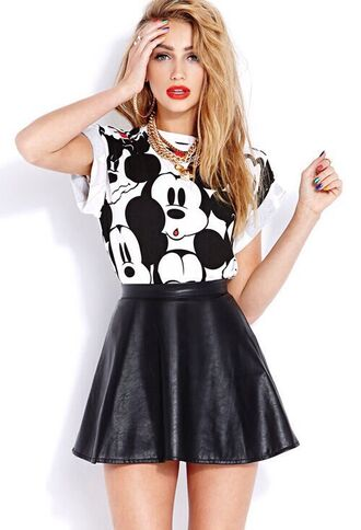 shirt skirt red lipstick gold chain disney black white mickey mouse t-shirt skater skirt black and white top leather crop tops necklace hoop earrings chain h&m leather skirt
