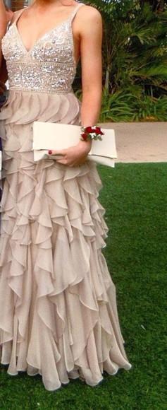 beige dress ruffle sequins