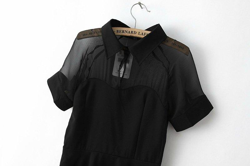 See Through Mesh Stitching Skater Dress [FXBI00724] - PersunMall.com