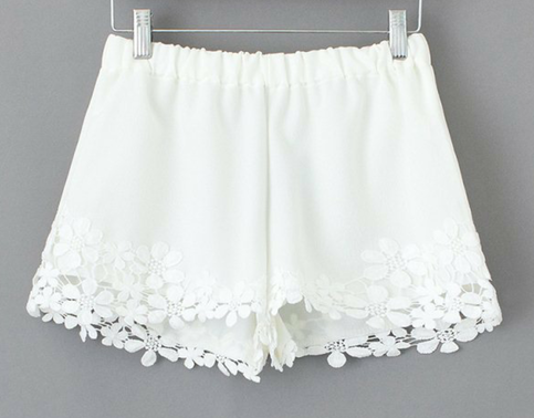 Summer white lace shorts