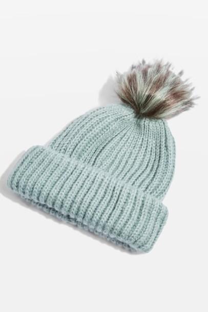Topshop fur faux fur hat beanie mint