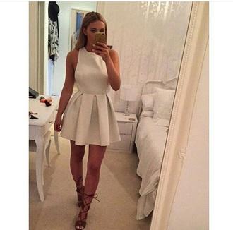 dress white white dress white lace dress skater skirt skater dress autumn/winter