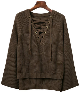 sweater brown lace up long sleeves knitwear fashion style trendy fall outfits casual zaful green