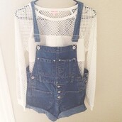 shirt,overalls,sweater,knit,knitted sweater,shorts,white,mesh,t-shirt,net,dungarees,blue,blouse,jeans,denim shorts,jean jumpsuit,jumpsuit,white fishnet tee,white tee,white mesh shirt,long sleeves,top,white blue,pants,cream,holes,indie,cardigan