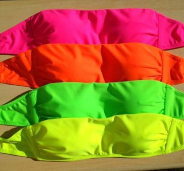 swimwear neon neon bikini bikini top yellow green orange pink pink bikini bandeau. Black Bedroom Furniture Sets. Home Design Ideas