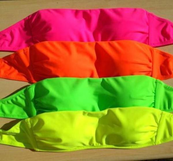 Swimwear Neon Neon Bikini Bikini Top Yellow Green