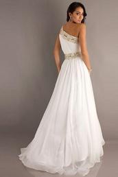 dress,prom dress,long prom dress,white prom dress,gold dress,white dress,one shoulder dresses,prom shoes,high heels,platform shoes,glitter,black heels