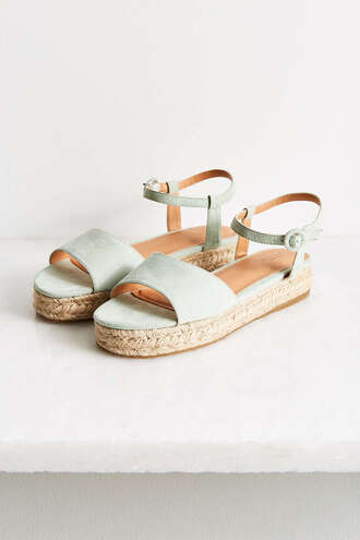 shoes espadrilles flatforms sky blue blue sandals