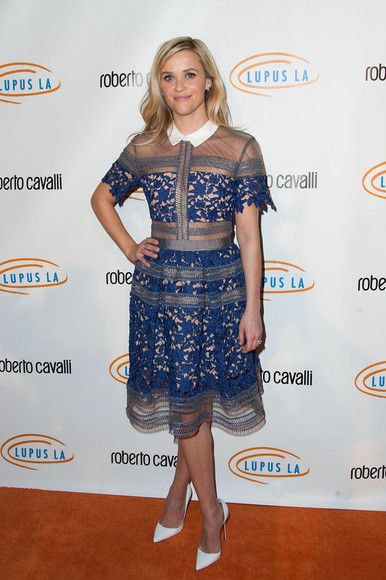 dress lace dress blue reese witherspoon sheer