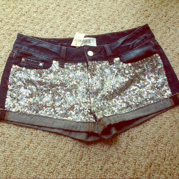 Victoria's Secret - ❌❌sold❌❌VS PINK sequins denim shorts from Kiana's closet on Poshmark