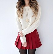 skirt,red,white,cropped,tights,top,outfit,pleated,white top,cropped sweater,white sweater,sweater,black tights,knitwear,knitted sweater,knitted top,knitted cardigan,skater skirt,mini skirt,outfit idea,red skirt,tennis skirt,pleated skirt,hair,blonde hair,ombre hair,spiral curls,curly hair