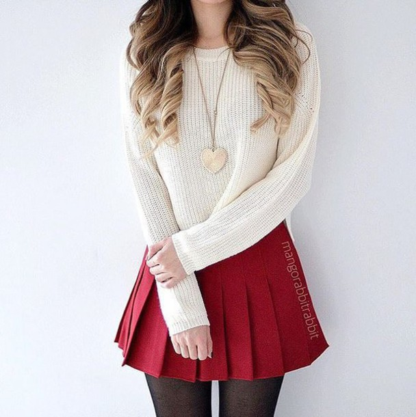 Skirt: red, white, cropped, tights, top, outfit, pleated, white ...
