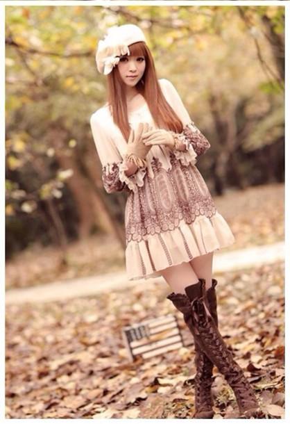 dress lace boho brown creme