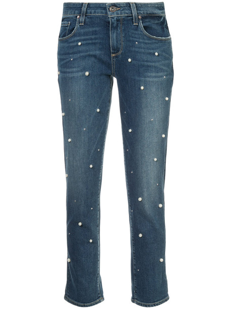 jeans cropped jeans cropped women spandex pearl embellished cotton blue