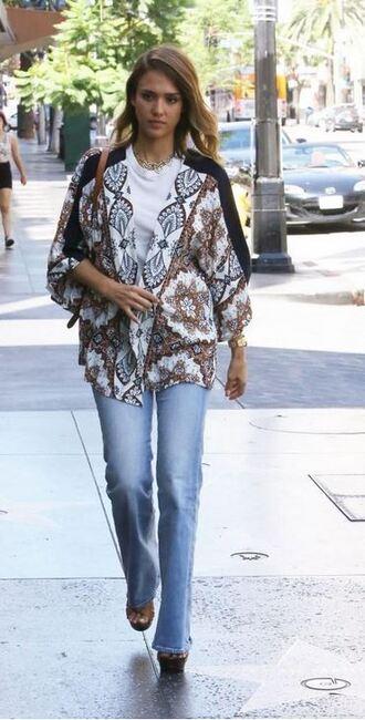 jeans denim jessica alba cardigan kimono